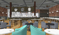 美式自助餐室内模型