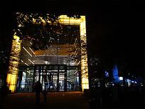 商城玻璃入口灯光夜景 JPG