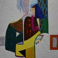 手绘抽象艺术人体油画图