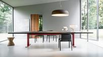 现代长方形多人餐桌椅组合吊灯
