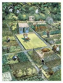 乡村农田种植手绘漫画