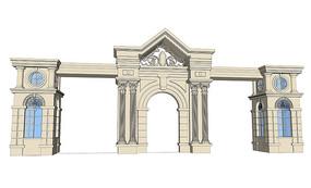 小区入口大门模型