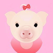 小猪女孩插画