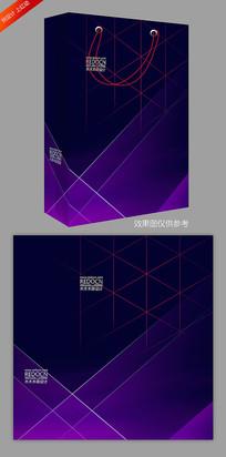 大气蓝紫色商务手提袋模板