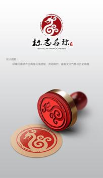 古典印章龙形logo设计商标