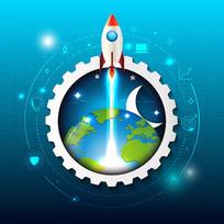 航空火箭插画