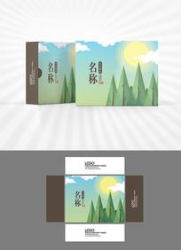 蓝天白云阳光包装盒设计