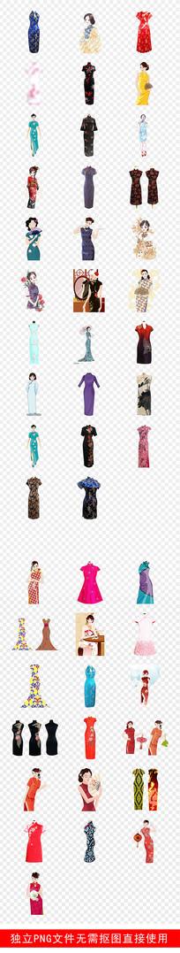 旗袍服饰传统装饰美女素材