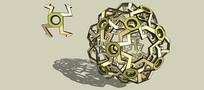 球形节点结构雕塑SU模型