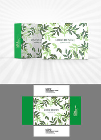 森系绿叶矢量包装盒设计