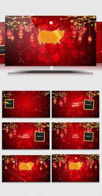 唯美红色剪纸风格新年视频模板