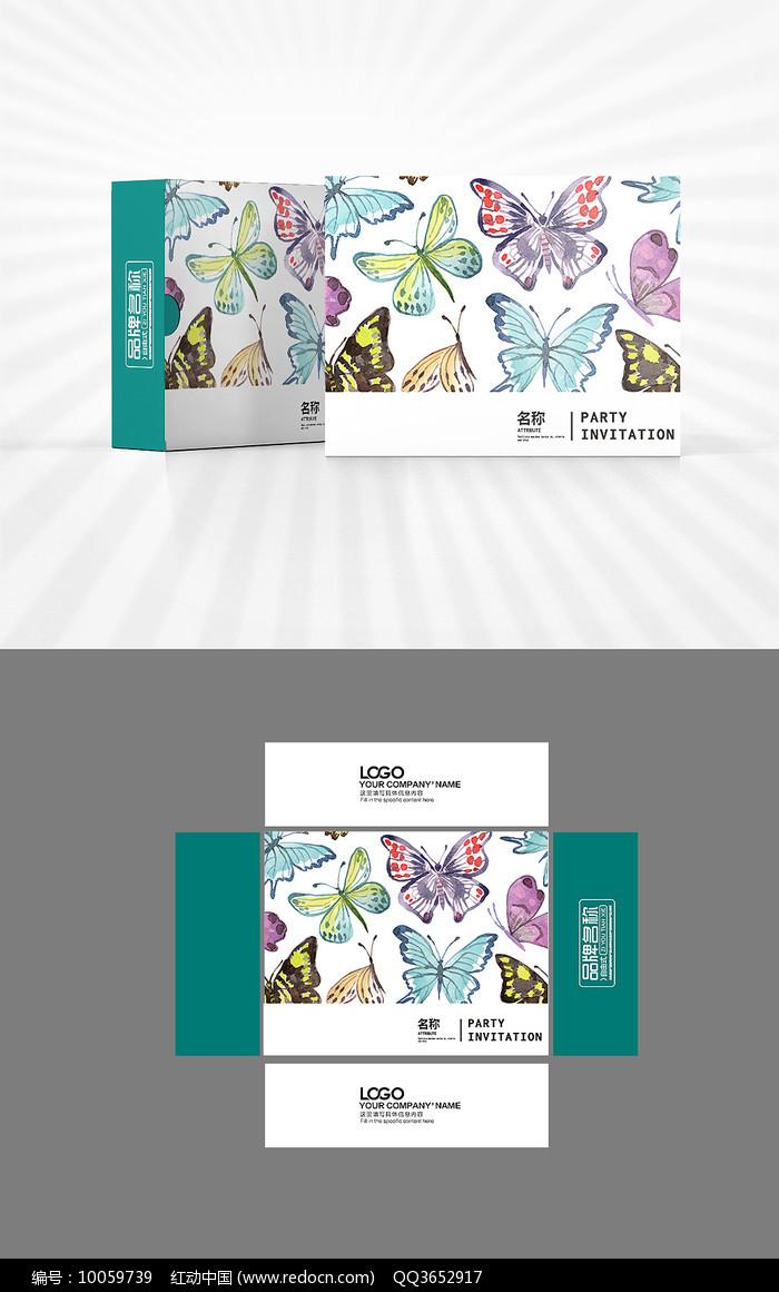 彩色蝴蝶包装盒设计图片