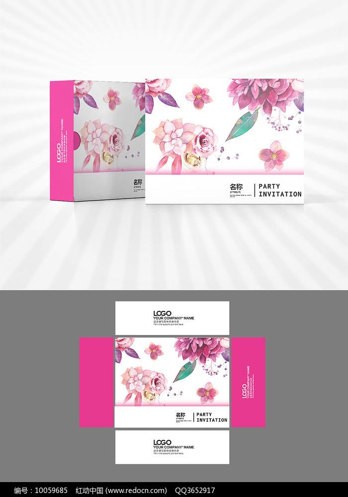 粉色花朵图案包装盒设计图片