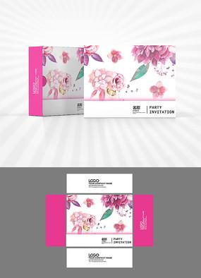 粉色花朵图案包装盒设计