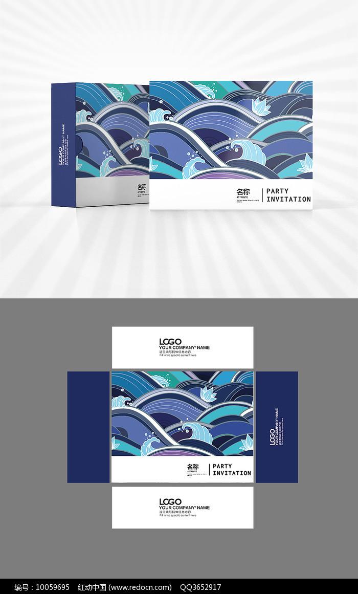 海浪背景包装盒设计图片