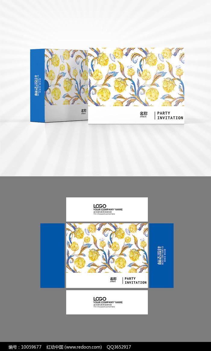 黄花图案包装盒设计图片