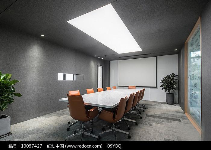灰色系会议室图片