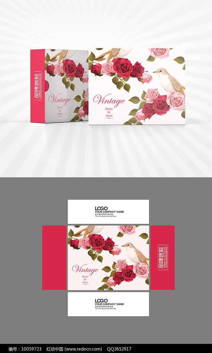 玫瑰底图包装盒设计图片