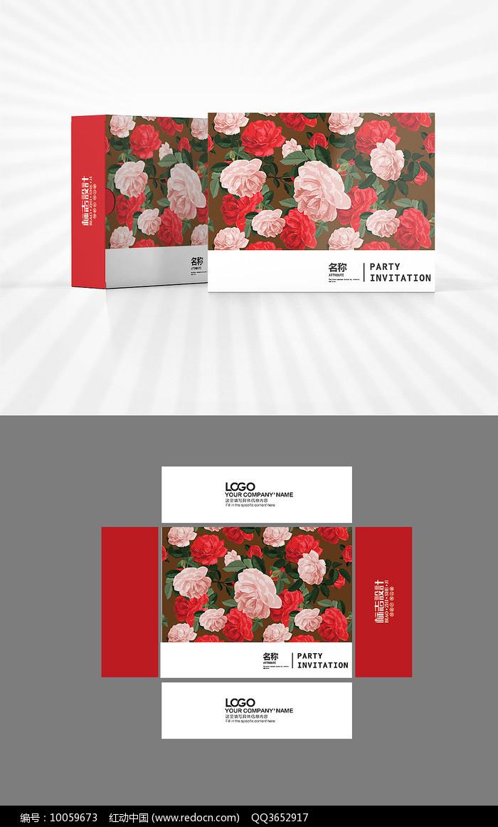 玫瑰花开包装盒设计图片
