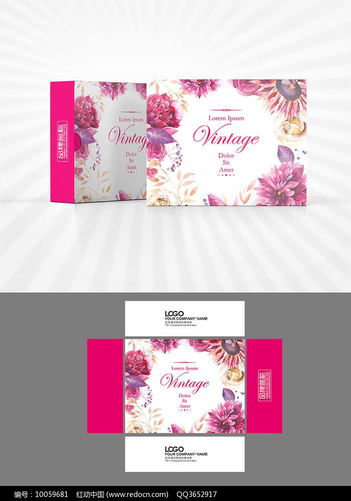 森系花朵包装盒设计图片