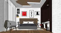 时尚北欧卧室模型