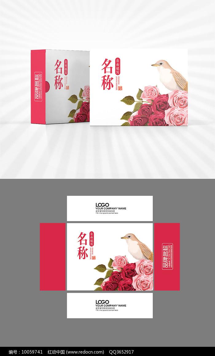 文艺花鸟包装盒设计图片