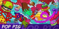猪年创意新年色彩展板