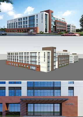 工业办公楼SU模型