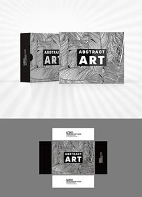 黑白森系绿叶背景包装设计