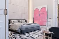 卧室靠墙的粉红色画作