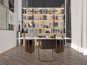 现代书房设计模型效果