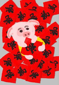 喜庆猪年插画设计