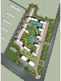 住宅景观规划效果图  PSD