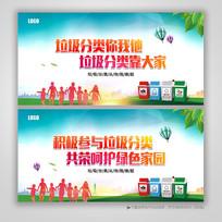 城市垃圾分类背景展板设计
