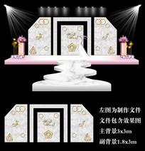 大理石现代婚礼背景设计