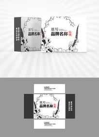黑白花朵元素包装盒设计
