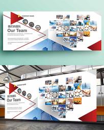 红色几何企业照片墙