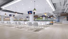 学校食堂设计室内效果图