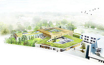 办公展馆建筑庭院景观