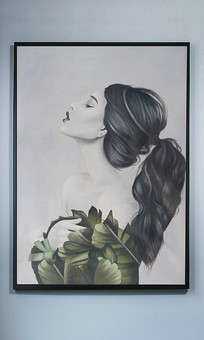 纯手绘绿叶美女艺术油画玄关