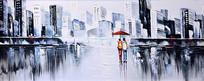 高清抽象现代城油画图