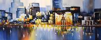 高清手绘现代城油画图