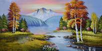 高山流水油画背景墙