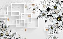 简约线条花朵背景墙