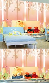唯美漫画树林儿童卧室背景墙