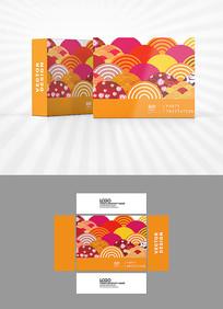 五彩祥云背景包装盒设计