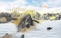 新款大理石纹山水画背景墙