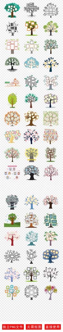 照片墙全家福家庭成员树素材
