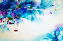 3D抽象梦幻花朵蝴蝶背景墙