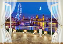 3D窗外唯美城市夜景背景墙